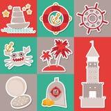 Seekarte der Aufkleber-gesetzten Weinlese und nahtloses Muster mit Seetieren, Boote, Leuchtturm nettes Meer wendet Sammlung ein V Lizenzfreie Stockbilder
