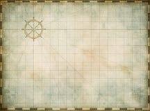 Seekarte der leeren Weinlese auf abgenutztem Pergament Lizenzfreie Stockbilder