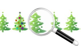 Seeking Magnifier for Christmas Tree royalty free illustration