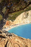 Seeking shade. View from under a winding tree on Porto Katsiki beach, Lefkada Greece royalty free stock photo