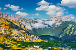 Seekofel mountain ranges in the morning mist. Royalty Free Stock Photography