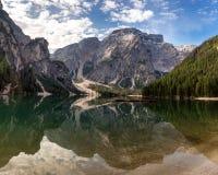 Seekofel reflecting at Lake Prags Royalty Free Stock Photos