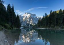 Seekofel reflecting at Lake Prags Royalty Free Stock Photo