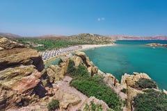 Seelagune und sandiger Strand Vai am Ostteil von Kreta-Insel nahe Sitia-Stadt Lizenzfreies Stockbild