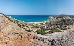 Seelagune und sandiger Strand Vai am Ostteil von Kreta-Insel nahe Sitia-Stadt Lizenzfreies Stockfoto