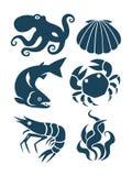Seeleben- und -Lebensmittelikonen Stockbild
