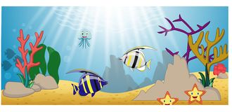 Seelebenkarikatur mit Fischsammlungssatz vektor abbildung