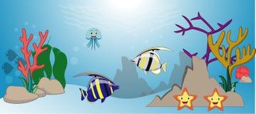 Seelebenkarikatur mit Fischsammlungssatz lizenzfreie abbildung