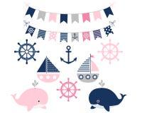 Seemädchen eingestellt mit Walen und Booten lizenzfreie abbildung