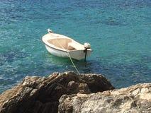 Seemöwe, die auf Motorboot sitzt Stockfoto