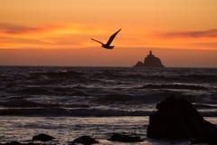 Seemöwenfliegen vor entferntem Leuchtturm bei Sonnenuntergang Lizenzfreies Stockbild