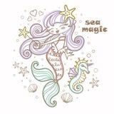 Seemagie Wenig p-Karikaturmeerjungfrau mit Seahorse und ein magischer Stab Vektor lizenzfreie abbildung