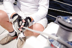 Seemann auf Boot Stockfotografie