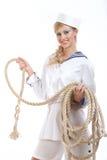 Seemann-Mädchen mit Seil Lizenzfreies Stockbild