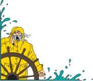 Seemann-und des Schiffs Rad-Grenzvektor-Illustration stock abbildung