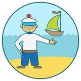 Seemann und Segelschiff Lizenzfreie Stockfotografie