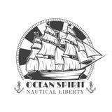 Seemannmarinevektorweinleseaufkleber, -ausweis oder -emblem in der einfarbigen Art mit Schiff und Anker Lizenzfreies Stockfoto
