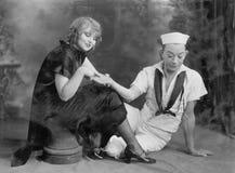 Seemannpalme der jungen Frau Lese(alle dargestellten Personen sind nicht längeres lebendes und kein Zustand existiert Lieferanten lizenzfreie stockfotografie