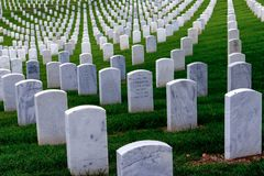 Gravestones in Fort Rosecrans Military Cemetery. Seemingly endless gravestones line the Fort Rosecrans military cemetery in San Diego, California Stock Photography