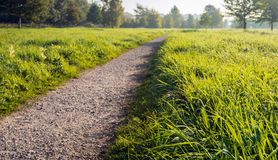 Seemingly endless straight gravel path in a Duch park. Atmospheric image of a seemingly endless path in a Dutch park. Next to the path is long fresh green grass royalty free stock images