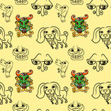 Seemless pattern of doodle cartoon Royalty Free Stock Images