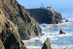 Point Bonita Lighthouse in Marin Headlands. Seen from Battery Mendell Trail in Point Bonita, Marin County, California, USA royalty free stock photos