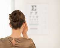 Seen from behind woman testing vision with Snellen chart Royalty Free Stock Photos