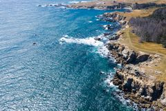 Aerial View of Rocky and Scenic Northern California Coastline royalty free stock photo