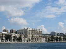Seen from the Bosphorus to Dolmabahce Palace, Istanbul. Turkey royalty free stock images