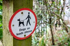 Warning sign for Dog Owners to keep there dogs on its lead. royalty free stock photography