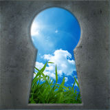 Seen through the keyhole Stock Photo