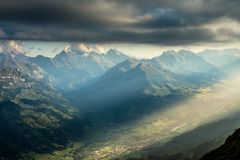 Lightfall. Seen from Niesen in the Bernese Alps stock images