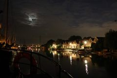 At the harbour at night in Netherlands stock photography