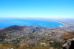 Cape Town City, TABLE BAY. Seen from the Table Mountain,a good view of the Cape Town and TABLE BAY。 The bay likes a foot. In the distance is stock photography