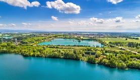 Seen zwischen Illkirch-Graffenstaden und Eschau nahe Straßburg - großartiger Est, Frankreich stockbilder