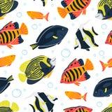 Seenahtloses Muster mit Fischen und Blasen unterwasser stock abbildung