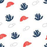 Seenahtloses Muster mit Steinen, Muscheln, Meerespflanze unterwasser vektor abbildung