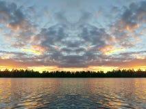 Seeoberfläche am Abend in Lettland, Ost-Europa Landschaft mit Wasser und Wald lizenzfreie stockbilder