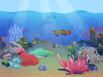 Seeozeanunterwasserlandschaftsszene mit bunten exotischen Fischen, Anlagen und Korallenriff lizenzfreie abbildung