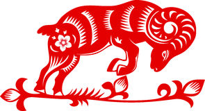 Sheep, goat paper cut. Chinese Zodiac 2015 - Year of the Sheep (Ram, Goat), traditional Chinese paper cut Stock Illustration