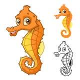 Seepferdchen-Zeichentrickfilm-Figur der hohen Qualität umfassen flaches Design und Linie Art Version Lizenzfreie Stockbilder