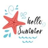 Seeplakat mit Seesternfischen drücken hallo Sommer, Welle, inspirierend Zitat der seastar Fahne des Vektors typografischen aus lizenzfreie abbildung