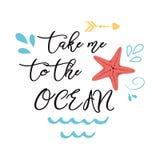 Seeplakat mit Seesternphrase nehmen mich zum Ozean, Welle, inspirierend Zitat der seastar Fahne des Vektors typografischen stock abbildung