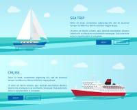 Seereise auf Segelboot und luxuriöser Kreuzfahrt auf Zwischenlage vektor abbildung
