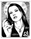 Seeress. Ink illustration of a young witch scrying with a crystal ball Royalty Free Stock Image
