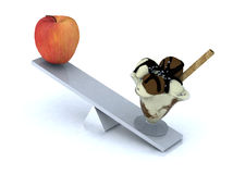 Seesaw with apple and ice cream Royalty Free Stock Images