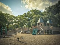 Free Seesaw At Public Wooden Castle Style Children Playground In Amer Stock Image - 126200621