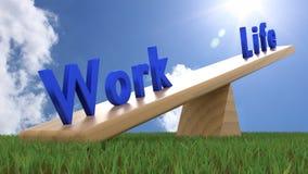 Seesaw avec la vie de mots de bleu et travaillez le concept d'équilibre de la travail-vie Photographie stock