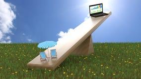 Seesaw avec le concept d'équilibre de la vie de travail de chaises de carnet et de plage Image stock