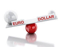 Seesaw balance euro and dollar Royalty Free Stock Image